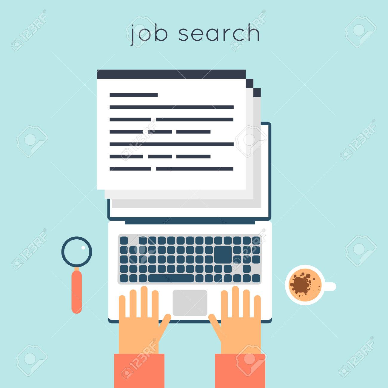 Recherche-d-emploi-en-ligne-design-plat-illustration-vectorielle-Vous-recherchez-un-poste-vacant-le--Banque-d'images