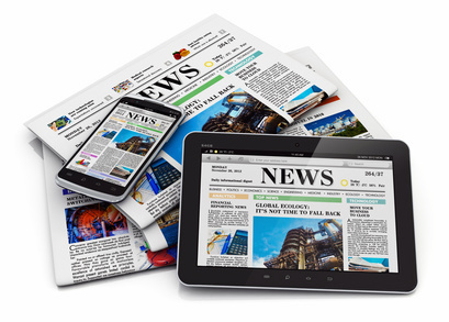 Electronic internet web and paper media concept: tablet PC computer, modern black glossy touchscreen smartphone and heap of businees office newspapers with financial news isolated on white background with reflection effect