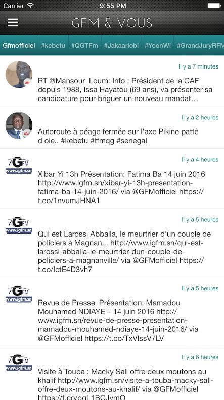 Application GFM et Vous avec la rubrique Invité