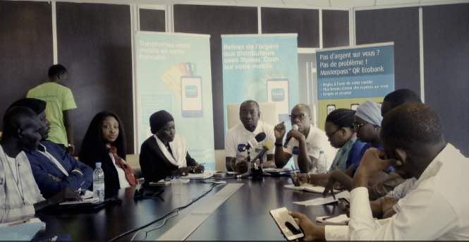 Le personnel de ecobank Sénégal lors d'un point de presse de présentation de l'appli Ecobank Mobile