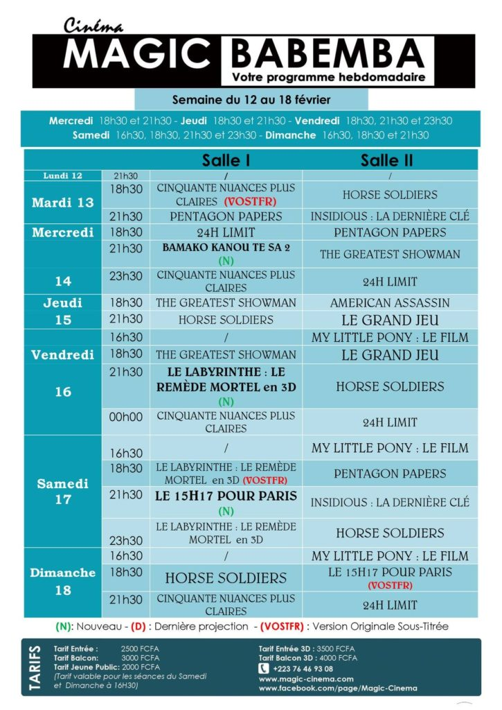 Programme du 12 au 18 février au Magic cinema Babemba à Bamako