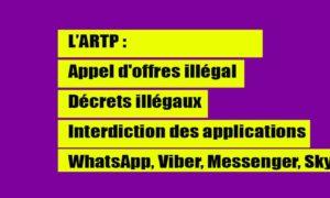 artp appel d offres illegal