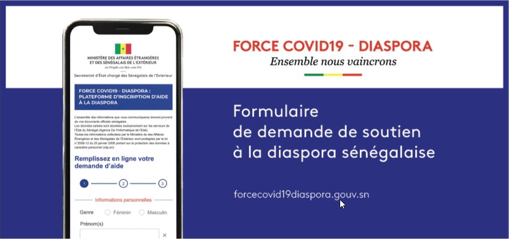 DIASPORA : Comment s'inscrire  et bénéficier du fonds «Force – Covid19»