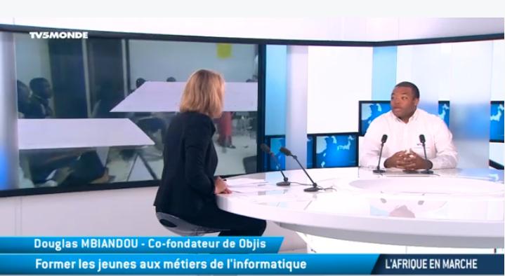 Douglas Mbiandou d'Objis sur TV5 Monde :  former 10 000 codeurs informatique à l'horizon 2025 en Afrique