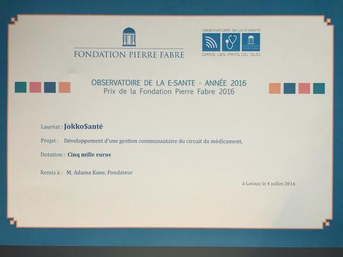 JokkoSante reçoit le Grand Prix 2016 de l'Université de la e-santé