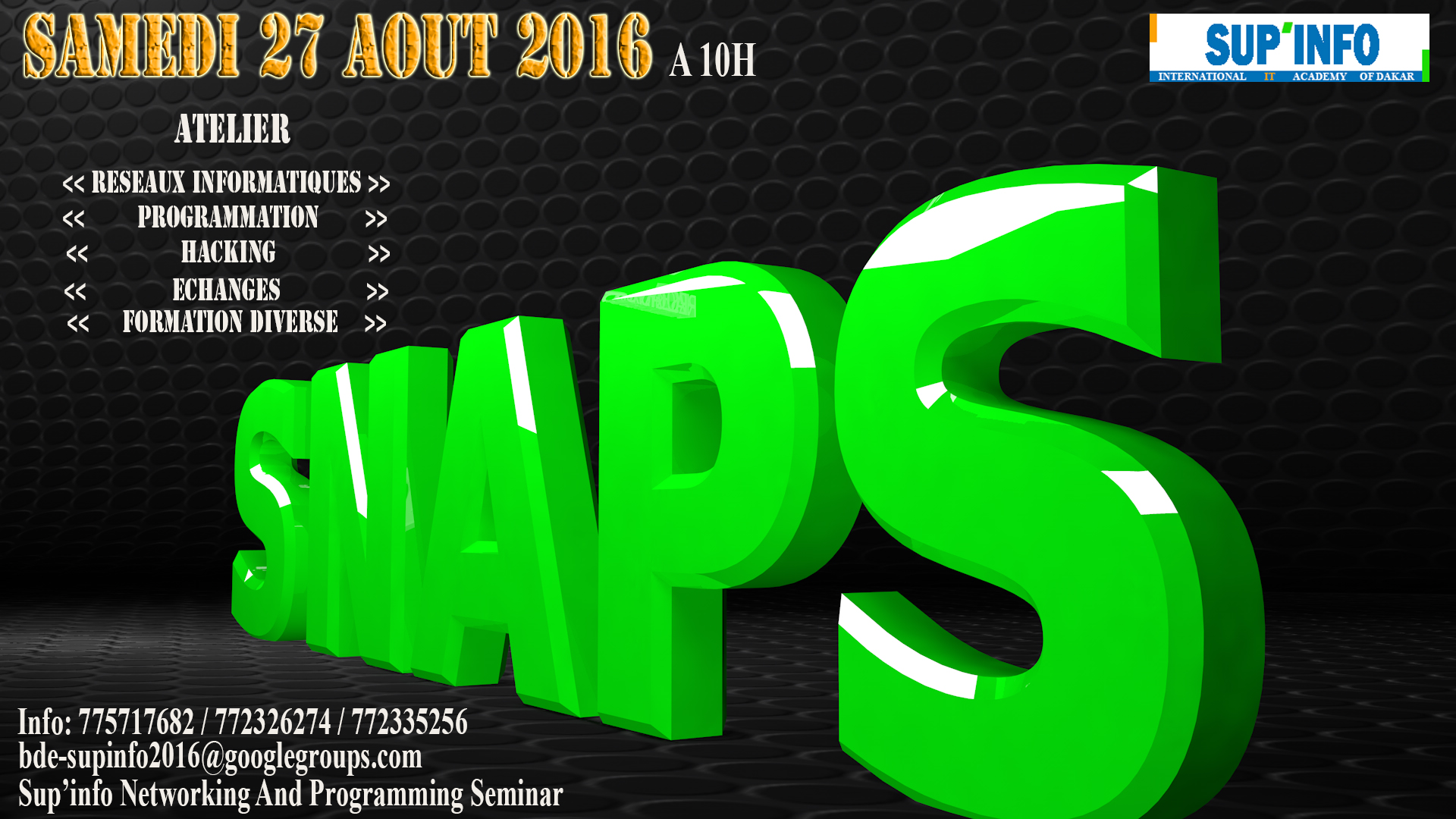 SNAPS: une journée dédiée aux hackers, spécialistes de réseaux et programmeurs informatqiues