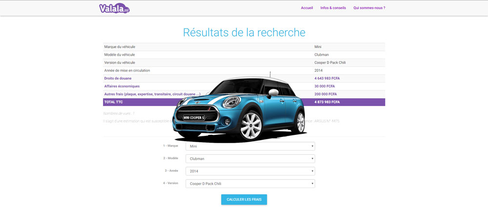 valala.ml calcule les frais de dedouanement de votre vehicule au Mali