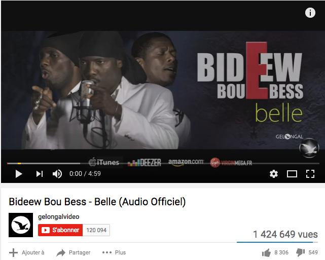 Une capture du clip Audio de Bidew Bou Bess, belle, réalisée par Gelongal