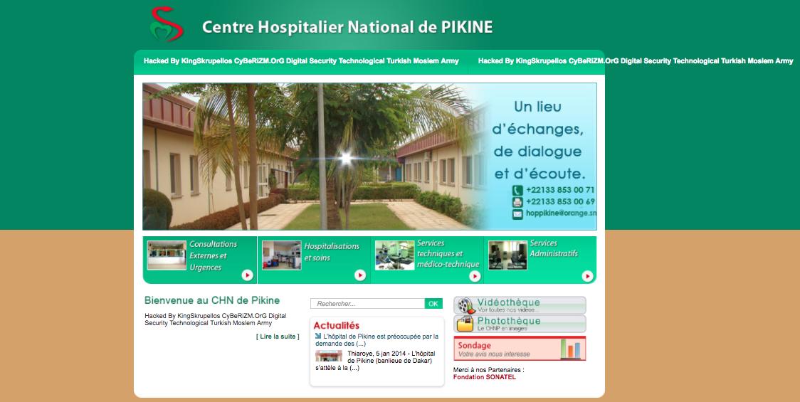 Le site web de l'hôpital de Pikine piraté par un hacker membre d'un forum turc