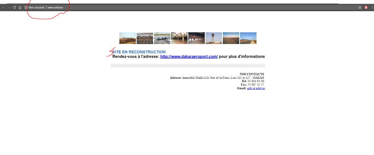 Le site web de l'Aéroport International Blaise Diagne AIBD n'a pas encore décollé.