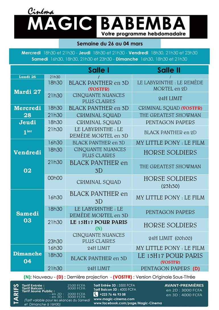 programme magic cinema babemba