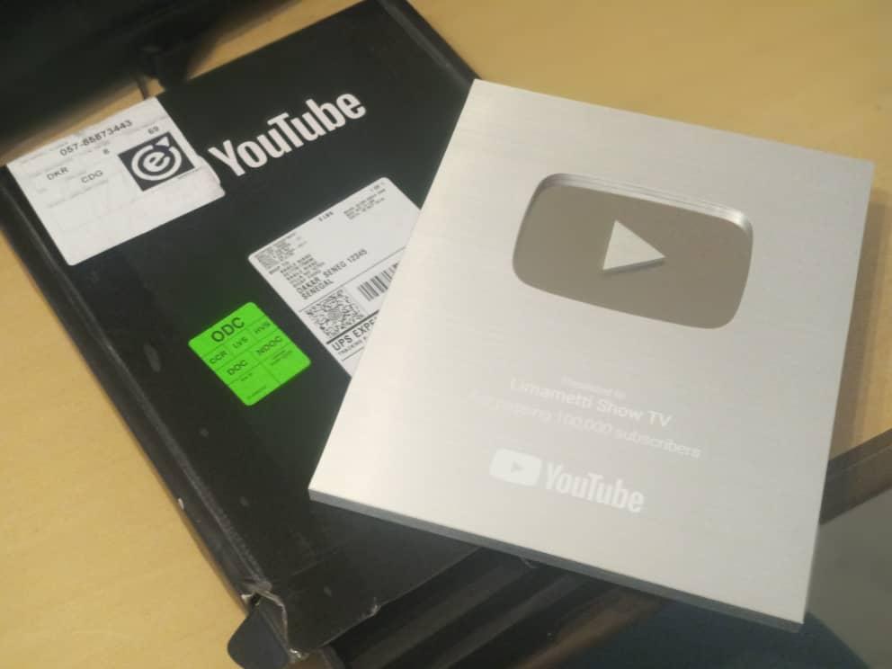 Trophée- La plateforme  limametti.com récompensée par Youtube