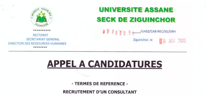 UASZ recrute un consultant pour la création d'un centre de ressources virtuelles