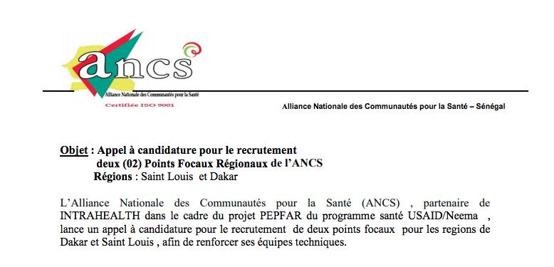 ANCS: Appel à candidature pour le recrutement 02 Points Focaux Régionaux