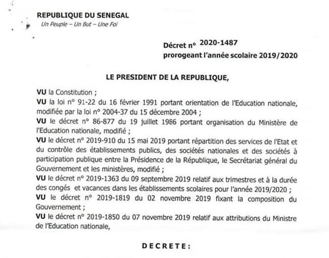Décret du Président Macky Sall prorogeant l'année scolaire
