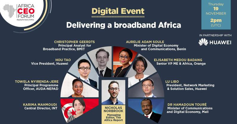 AFRICA CEO FORUM : L'engagement de Huawei pour créer une Afrique à large bande