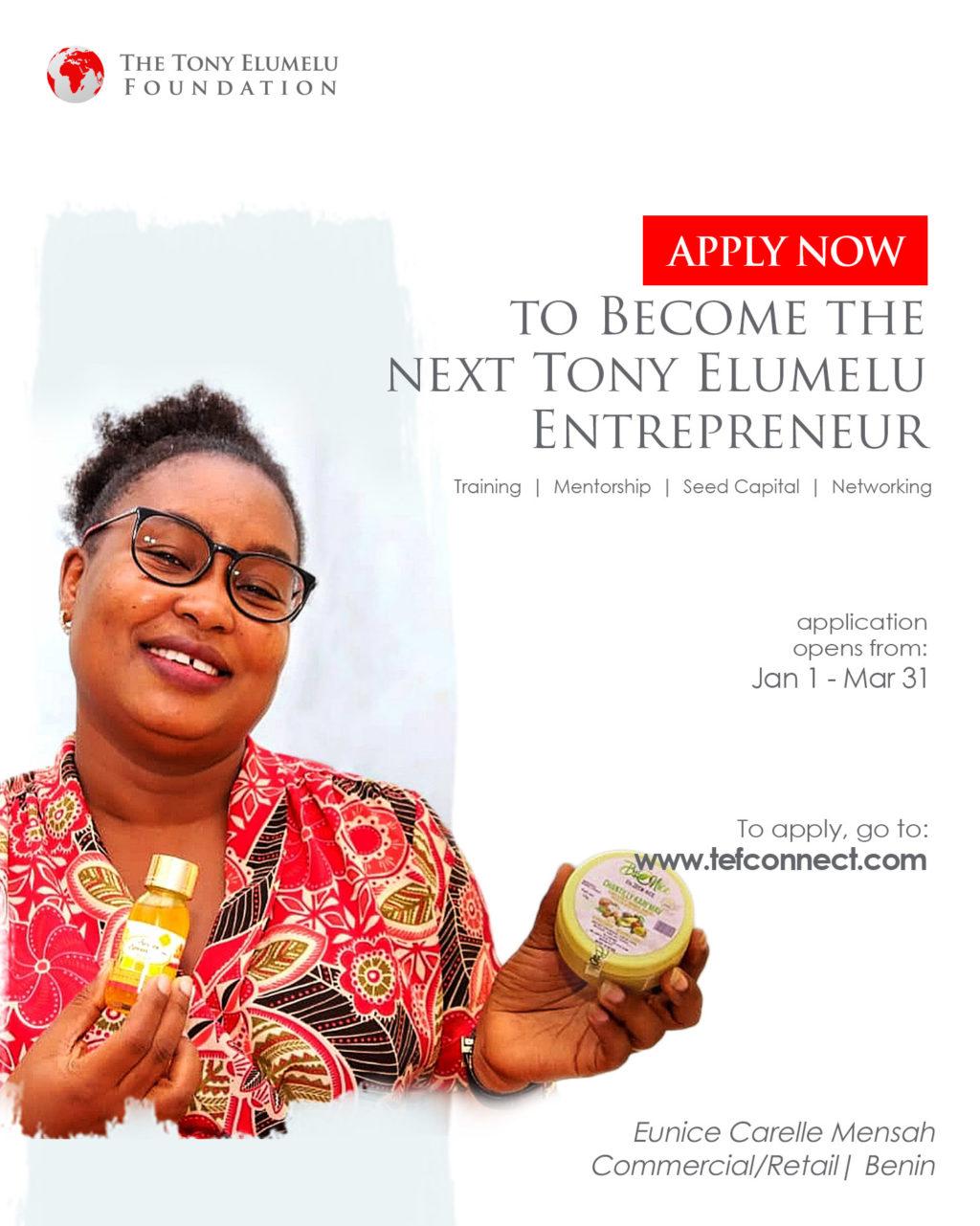 Postulez pour le Programme d'Entrepreneuriat de la Fondation Tony Elumelu