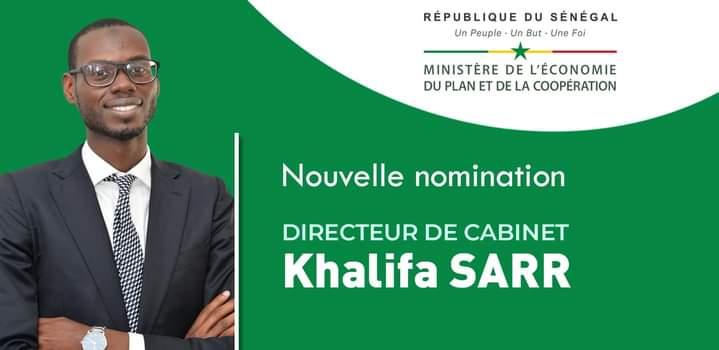 Khalifa SARR, ingénieur financier est nommé Directeur de Cabinet du Ministère de l'Economie, du Plan et de la Coopération